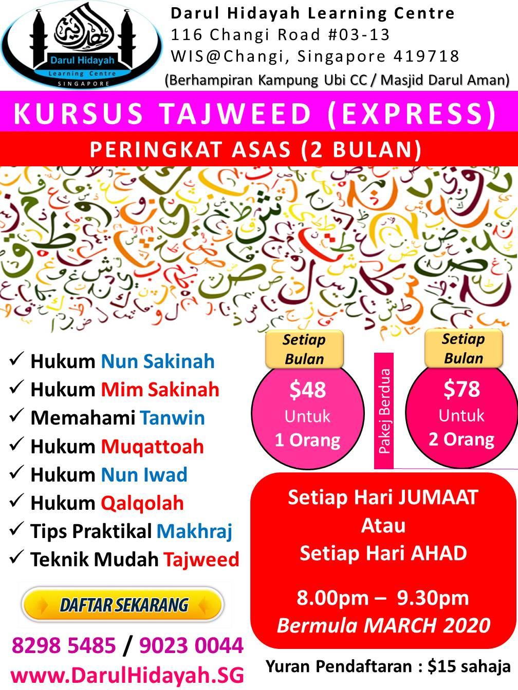 Darul Hidayah Kursus Tajweed Express (Mar 2020)